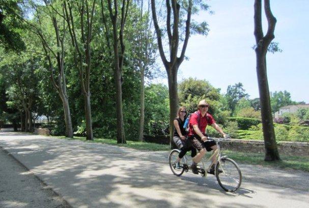Tandem biking in Italy
